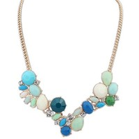 Rhinestone Assymentric Stone Short Statement Necklace DP 0613