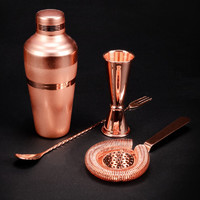 Bar Set: Premium Copper Plated Shaker Barware Set - 4 Pieces Bartender Kit Includes shaker (410ml), Jigger, Strainer & Spoon