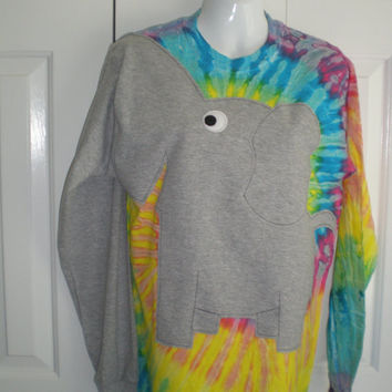 Elephant shirt, elephant trunk sleeve sweatshirt,  elephant t shirt,  Tye Dye, UNISEX adult medium