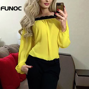 Funoc Off Shoulder Women Shirts Summer Chiffon Blouse Shirt Lace Sexy Loose  Tops Autumn Long Sleeve Casual Ladies Yellow Top