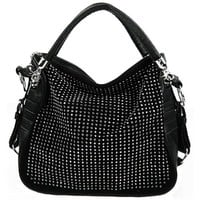 BENOITE Black Rhinestones Embellished Soft Leatherette Hobo Satchel Handbag Purse Convertible Shoulder Tote Bag
