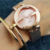 GUCCI Woman Men Fashion Watch Business Watches Wrist Watch Rose gold I-Fushida-8899