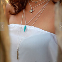 Shiny Gift New Arrival Stylish Jewelry Vintage Turquoise Tassels Metal Feather Necklace [7271827143]