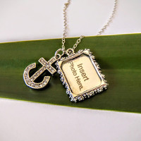 Anchor Charm Necklace - Picture Frame - Dainty - Sterling Silver