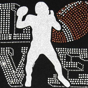Rhinestone Football Love T-Shirt - Bling Shirt
