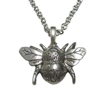 Silver Toned Bumble Bee Bug Insect Pendant Necklace
