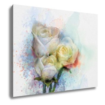 Gallery Wrapped Canvas, Flowers Painting White Roses Floral In Pastel Color