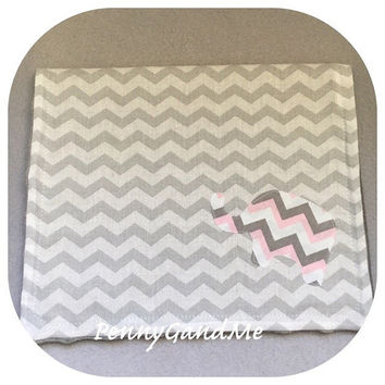 Pink Elephant Burp Cloths, Pink and Grey Elephant, Elephant Baby Shower Gift, Baby Girl Burp Cloths,