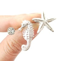 Seahorse Starfish and Rhinestone Shaped Allergy Free Stud Earrings in Silver | Animal Jewelry