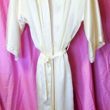 Long, Ivory Satin, Robe, Kimono Wrap, Appliques, Size Small, California Dynasty, Bridal Honeymoon, Resort Cruise Wear, Sexy Sleepwear
