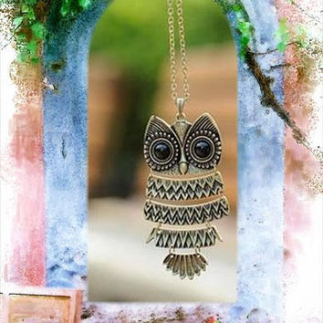 Owl Necklace Gold / Bronze and Silver Equip by jewelrybraceletcuff