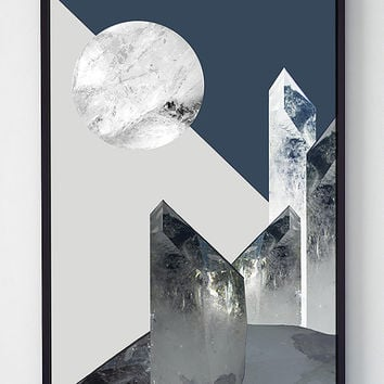 Moonlight art print, abstract print,abstract wall art,scandinavian print,wall art printable,modern wall art,wall art poster,printable poster