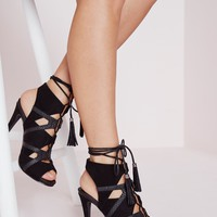 Missguided - Contrast Lace Up Sandal Black