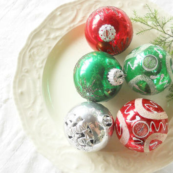 Assorted Set of Mercury Glass Ornaments, Boxed Set of 5, Retro, Mid Century, West Germany, Christmas Tree
