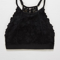 Aerie Basket Weave Lace Hi-Neck Bralette, True Black