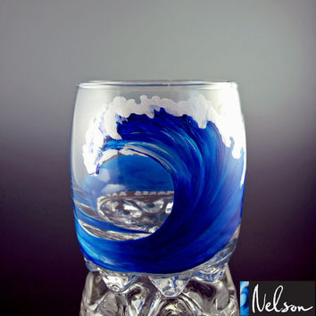 SALE Handpainted Rocks Glass, Tumbler Glass, Wave, Beach, Surf, Surfing, Surfboard, Hawaii, Cocktail, Surf Art, Unique Glass, Single Glass