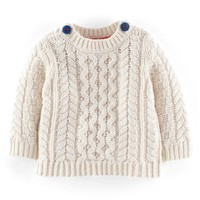 Infant Boy's Mini Boden 'Fisherman' Cable Knit Sweater,