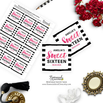 Printable Sweet 16 Favor Tags,  Black and White Stripes, Sweet Sixteen Favor Tags, Sweet 16 Birthday Favor Tags, Sweet 16 Tags, Birthday Tag