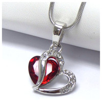 """Always in My Heart"" Beautiful Rhinestone Accented Hugging Hearts Necklace"