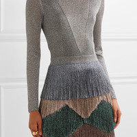 Missoni - Fringed metallic knitted mini dress