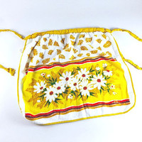Vintage Flower Apron Retro Terry Cloth Yellow Brown White Floral Dish Towel Fabric Kitchen Kitchenwares
