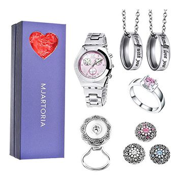 Pink Rhinestone Wristwatch Mama I Love you Ring Pendant Necklace Ring Magentic Brooch Jewelry Set