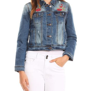 LE3NO Womens Ripped Cropped Denim Jacket with Floral Embroidery