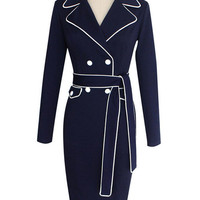 Navy Lapel Belted Long Sleeve Bodycon Dress