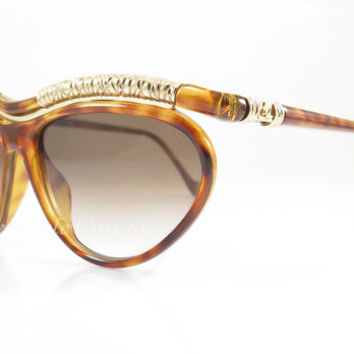 Christian Lacroix 7388 , Vintage Sunglasses , Brown Tortoise and Gold , Cateye , Avant-Garde , 1980s , Ultra Rare