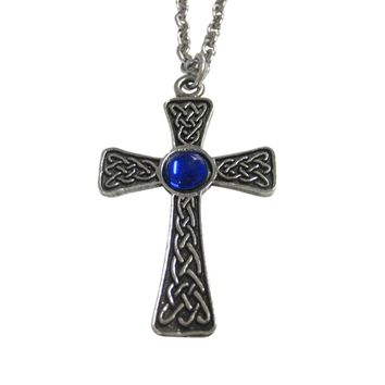 Large Celtic Cross with Blue Center Pendant Necklace