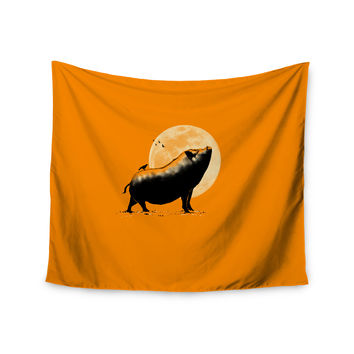 "BarmalisiRTB ""Barking Pig"" Black Orange Wall Tapestry"