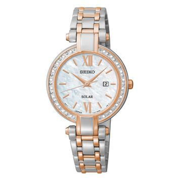 Seiko Womens False Stainless Steel Solar Watch