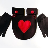 Black SMITTEN Mitten with Red Heart... hold hands when its cold outside... gLoves and Smitten card Included