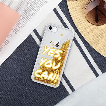 """""""YES, I CAN !"""" Positive Motivational & Inspiring Quote Liquid Glitter iPhone Mobile Phone  Case"""