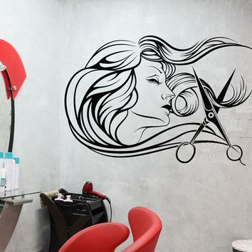 Vinyl Wall Decal Barbershop Beauty Salon Hair Stylist Fashion Model Stickers Unique Gift (699ig)
