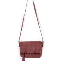 Wine Red Tassel Detail PU Satchel Bag