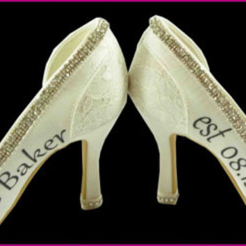 Wedding Heels Ivory Bridal High Heels Shoes Mrs New Last name Personalized Date Peep Satin Rhinestone Bling Pumps Bride Gift Bling Stiletto