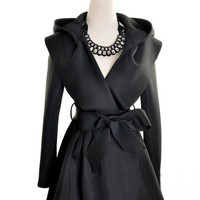 Hooded Trench Coat in Black