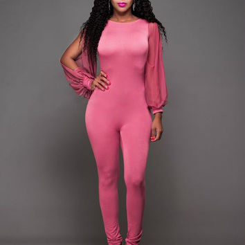 Pink Cut-Out Long Sleeve Jumpsuit