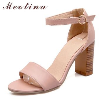 Meotina Fashion Shoes Women Sandals Summer Open Toe Ankle Strap Chunky High Heels Whit