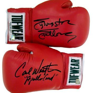Carl Weathers & Sylvester Stallone Signed Autographed Tuf Wear Red Boxing Gloves (ASI COA)