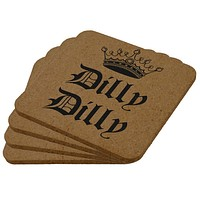 Dilly Dilly Crown Olde English Square Cork Coaster (Set of 4)