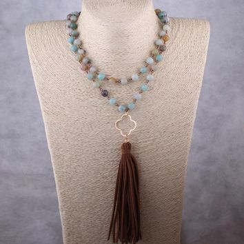 Fashion Amazonite Stones Rosary Chain Plum Blossom Link Long Tassel Necklace