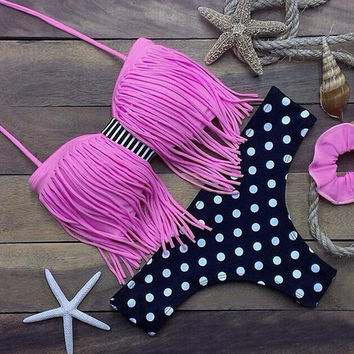 Dots Tassel Bikini Set Swimsuit
