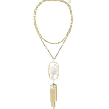 Kendra Scott Rayne Long Gold Necklace - Ivory Pearl 30 inch