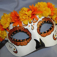 Orange, Yellow, Black and White Day of the Dead Mask - Halloween Mask