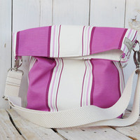 canvas tote stripes beach bag shopping bag modern everyday bag pink and white spring - summer fold over bag