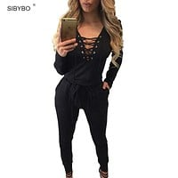 Women Jumpsuit New Autumn Off Shoulder Long Sleeve Pockets Party Rompers Combinaison Femme Bodysuit Sexy Lace Up Club Jumpsuits