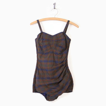 Vintage 50s Plaid Cotton SWIMSUIT / 1950s Olive Green, Navy & Brown PLAID Bathing Suit PLAYSUIT