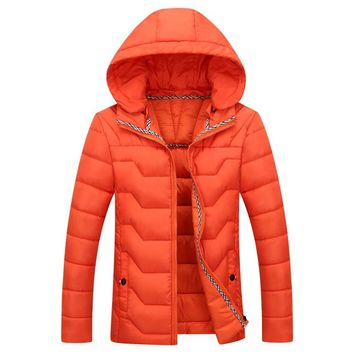 The Banff Geo Puffer Coat Orange